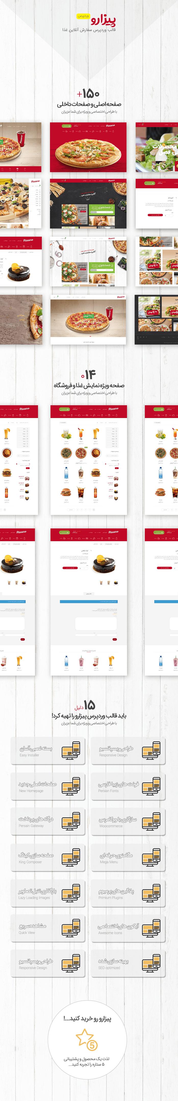 قالبPizzaro قالب وردپرس سفارش آنلاین غذا | نسخه اورجینال + راهنمای قالب