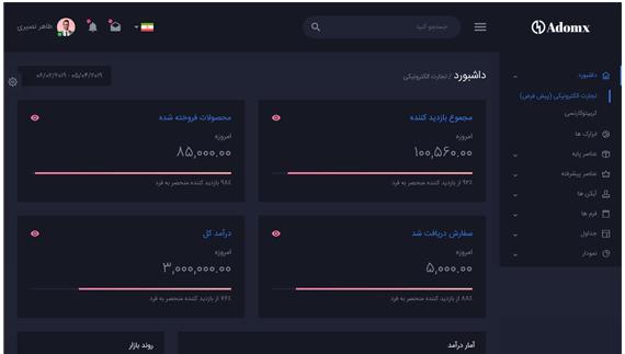 حالت تیره قالب مدیریتی Adomx