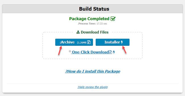 دانلود فایل installer و فایل زیپ بسته نصبی