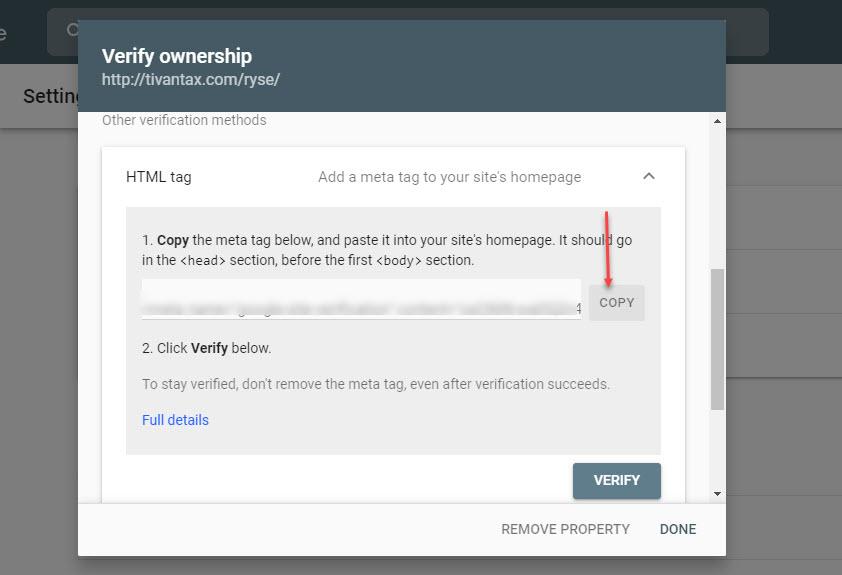 افزودن تگ html به سایت در سرچ کنسول