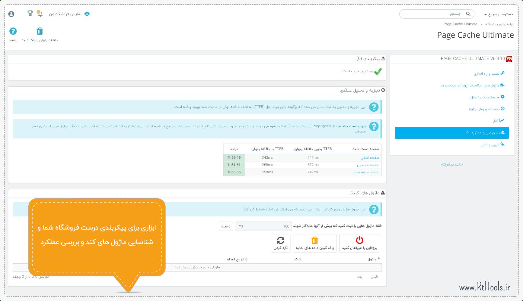 تجزیه و تحلیل عملکرد ماژول پرستاشاپ | Page Cache Ultimate Module