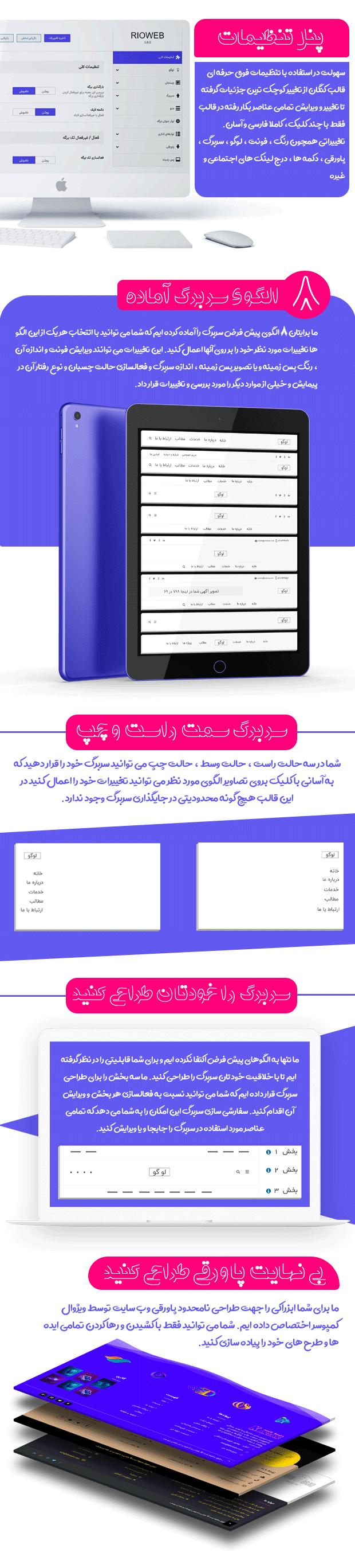 پنل تنظیمات قالب چند منظوره کنگان، پوسته وردپرس ایرانی Kangan