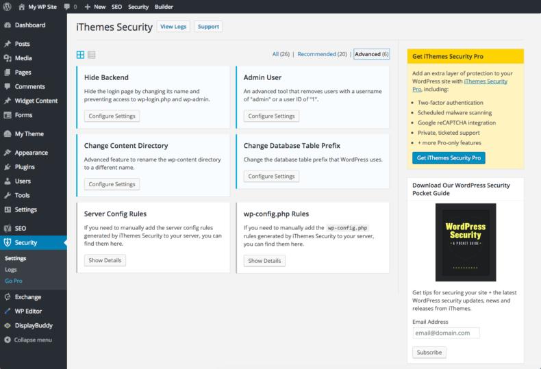 بهترین افزونه های امنیت iTemes security
