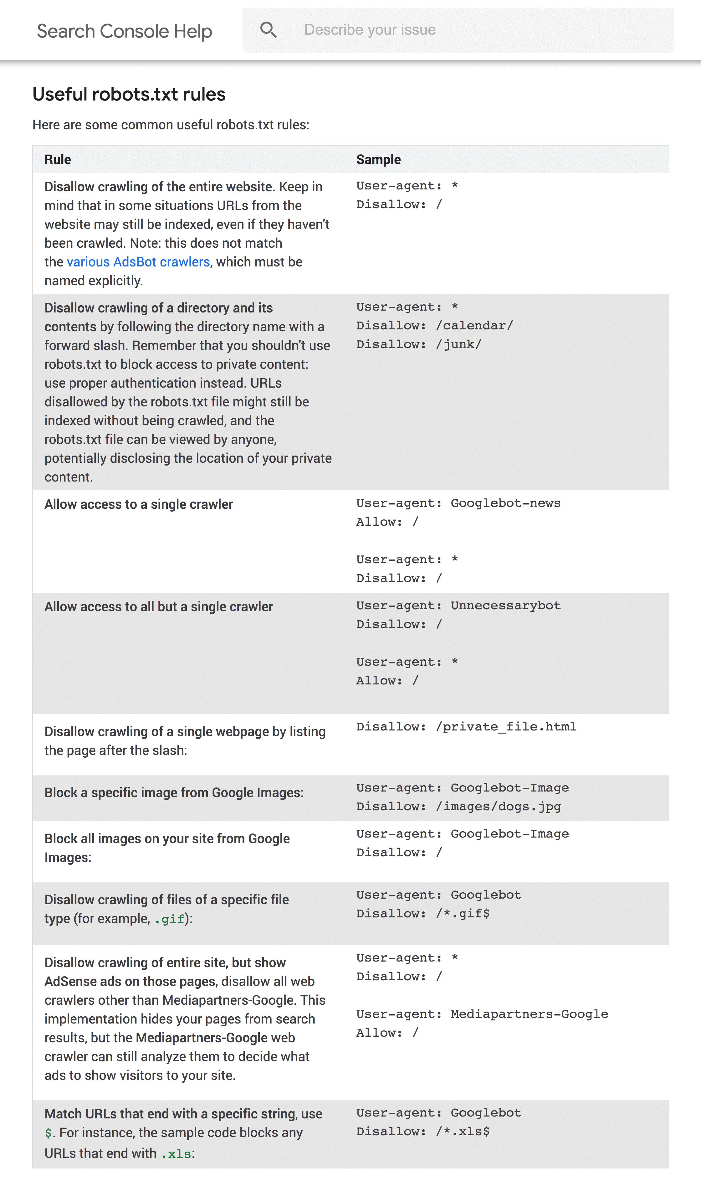قوانین robot.txt