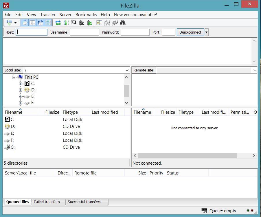 محیط کاربری FileZilla