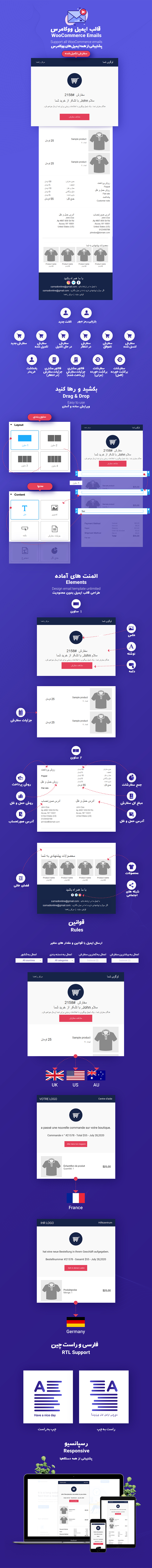 امکانات WooCommerce Email Template Customizer