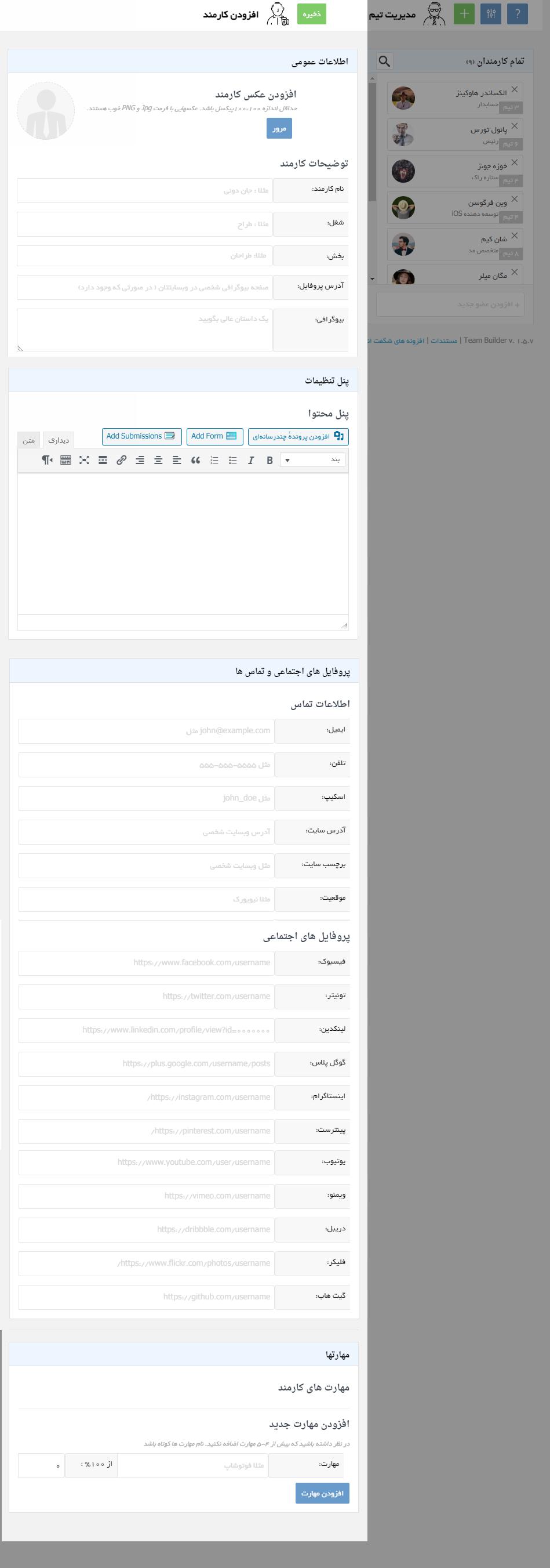 تنظیمات افزونه تیم ساز و پروفایل ساز تیم بیلدر