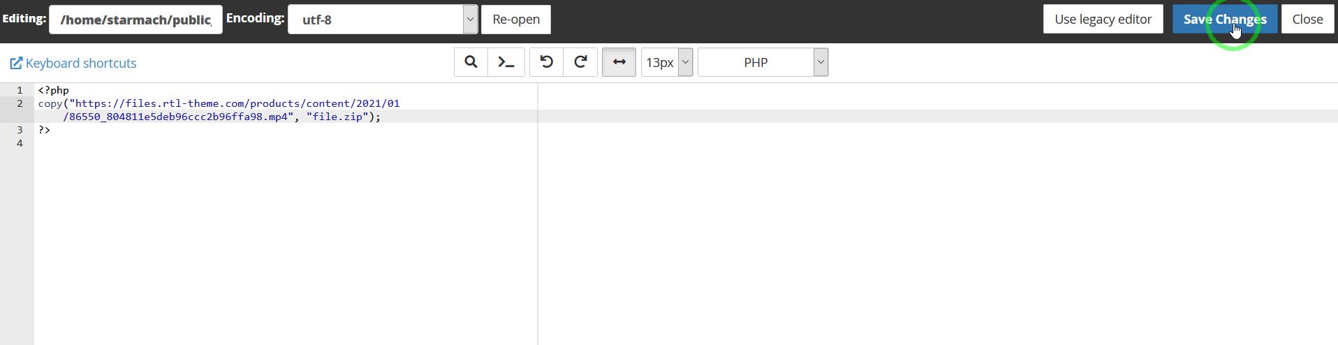 ویرایش فایل php