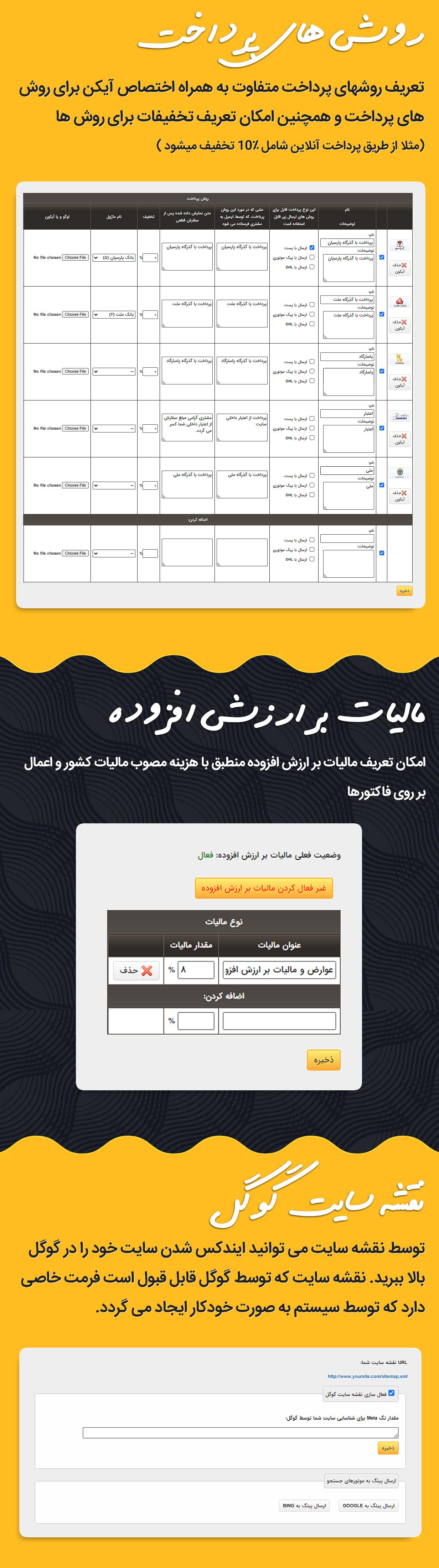 روش های پرداخت، مالیات بر ارزش افزوده و نقشه سایت اسکریپت فارسی GNIK