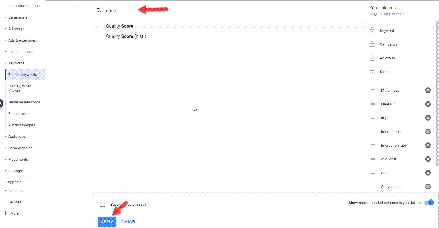 افزودن ستون quality score درز گئپوگل ادز