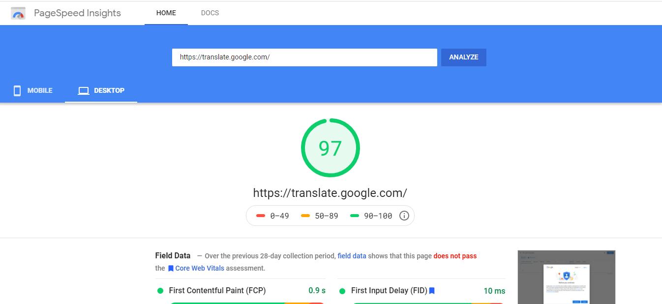 تست سرعت سایت در گوگل پیج اسپید