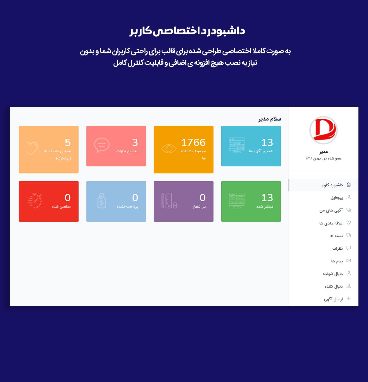 داشبورد کاربرد در قالب وردپرس آگهی و دایرکتوری لیستدو