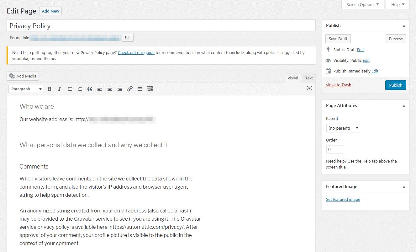 ویرایش صفحه تنظیمات حریم خصوصی