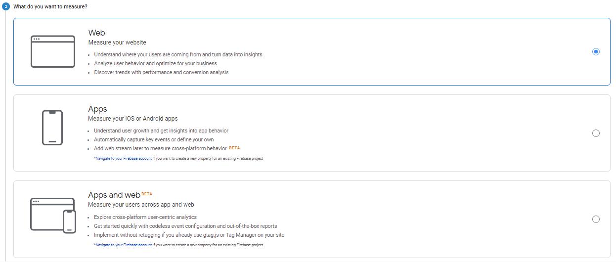 انتخاب پلتفرم برای اتصال به گوگل آنالیتیکس