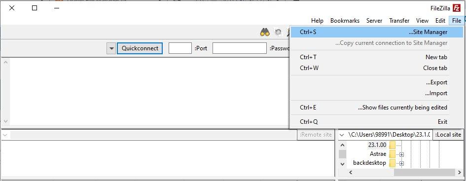 آموزش نرم افزار فایل زیلا- ورود مشخصات اکانت ftp