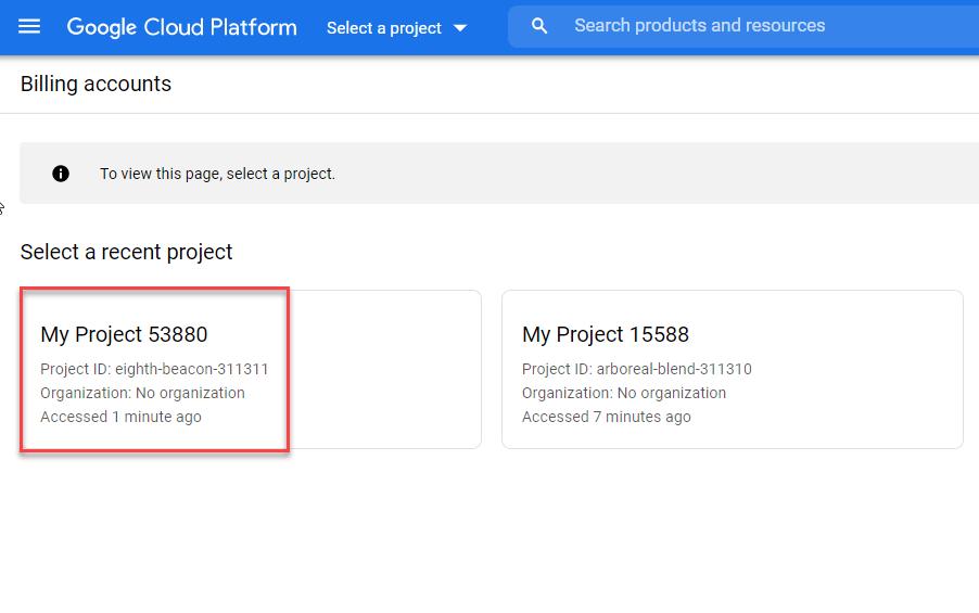 دریافت api key برای نقشه گوگل مشاهده پروژه های ایجاد شده