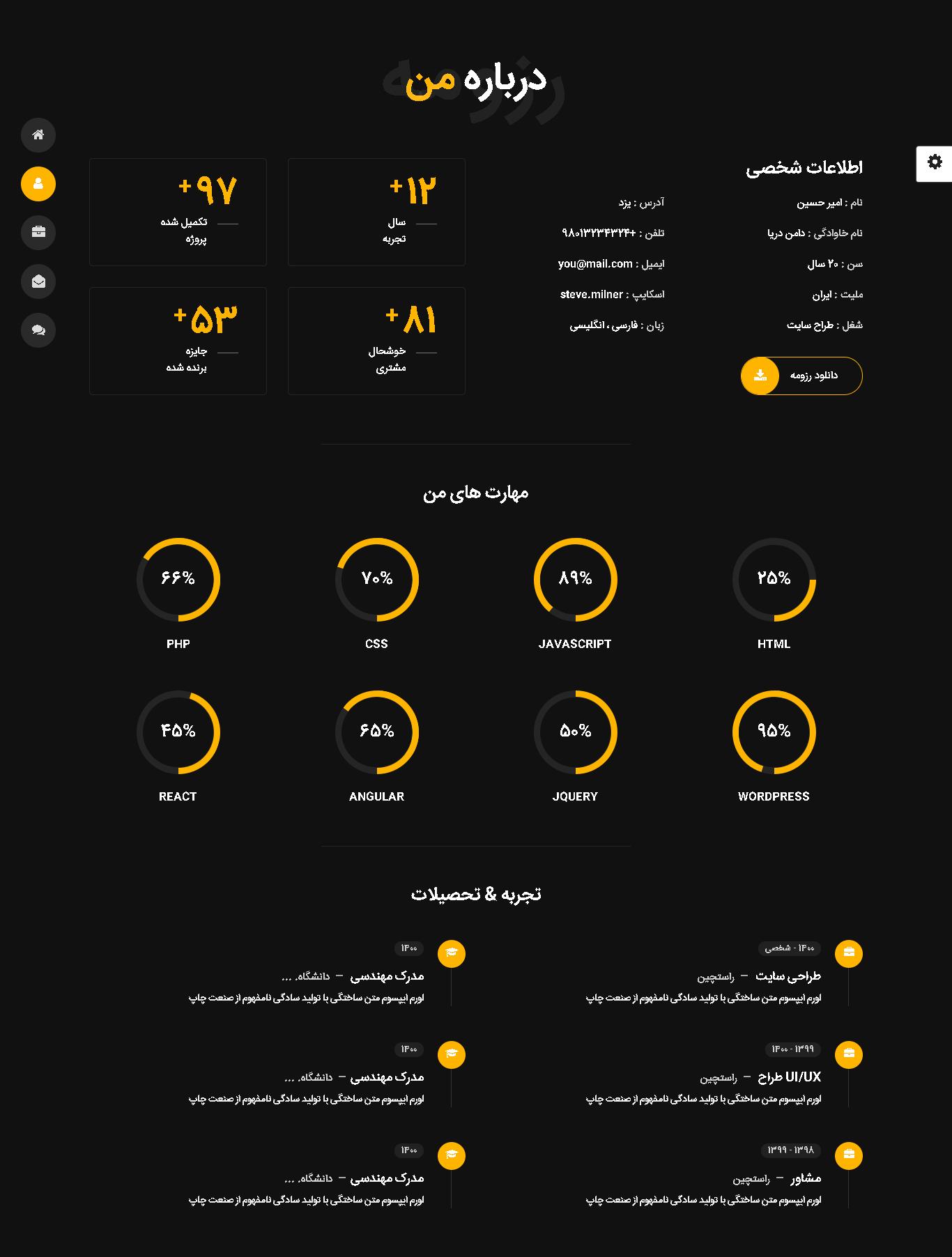 صفحه درباره ما اسکریپت Tunis