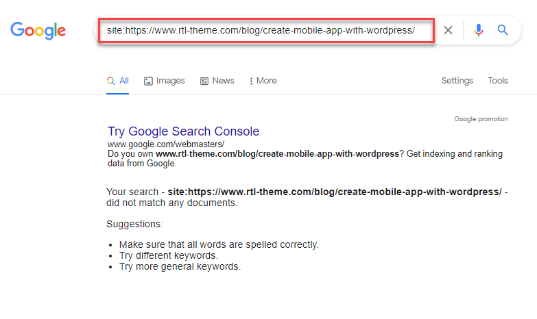 بررسی ایندکس شدن url در گوگل