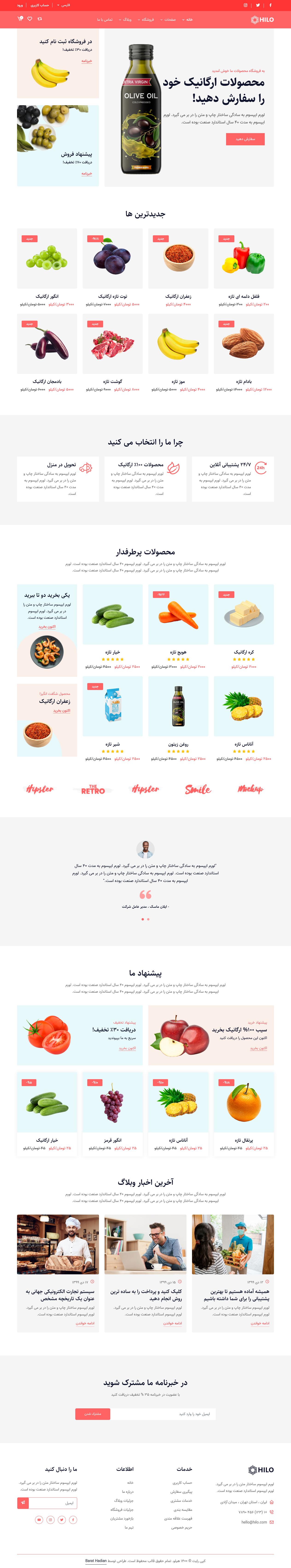 قالب Hilo، قالب HTML فروشگاهی محصولات ارگانیک هیلو