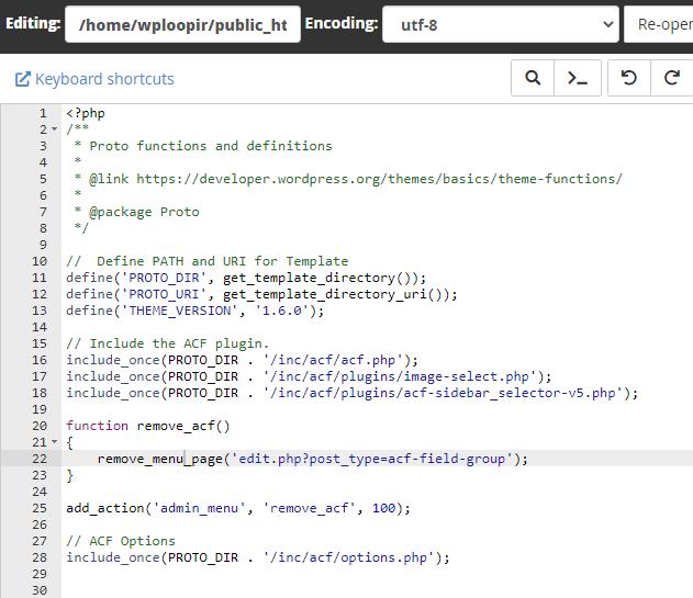 ویرایش function.php در سی پنل