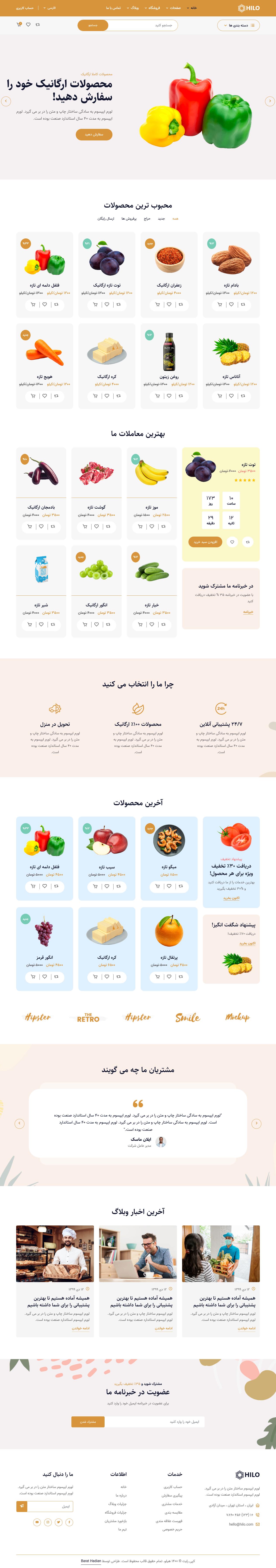 امکانات و صفحات قالب HTML فروشگاهی محصولات ارگانیک هیلو