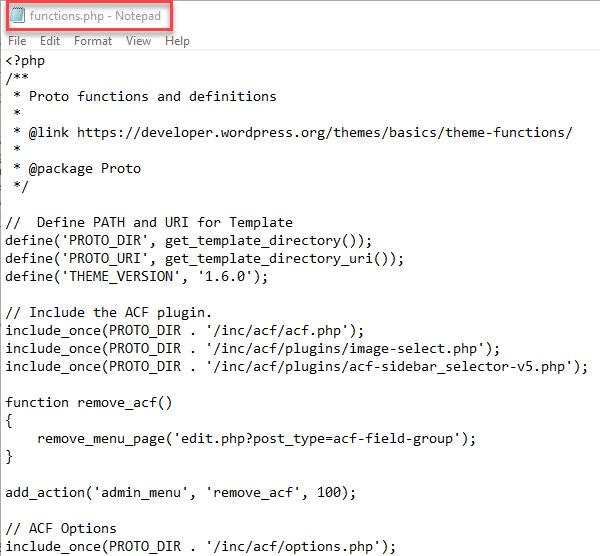 ویرایش function.php در ftp