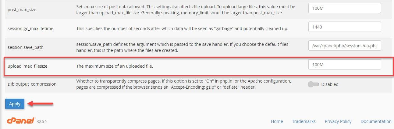 گزینه upload_max_filesize